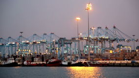 Evening view of  Port of Algeciras - one stock footage
