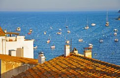 Evening view of the port of Cadaques Royalty Free Stock Image