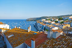 Evening view of the port of Cadaques Royalty Free Stock Images