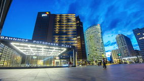 Evening view of Potsdamer Platz, Berlin, Germany stock video footage