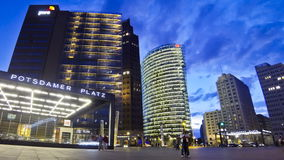 Evening view of Potsdamer Platz - financial district of Berlin, Germany stock video footage