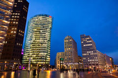 Evening view of Potsdamer Platz - financial district of Berlin, Royalty Free Stock Image
