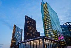 Evening view of Potsdamer Platz - financial district of Berlin, Stock Photos