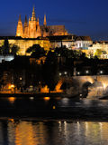 Evening view of Prague castle and Charles Bridge Royalty Free Stock Image