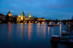 Evening view of Prague Castle and Charles Bridge Stock Images
