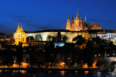 Evening view of Prague Castle from Novotneho Stock Images