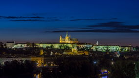 Evening view of Prague Castle over Vltava river timelapse, Czech Republic stock video footage