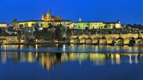 Evening view of Prague Castle with St. Vitus Cathedral Royalty Free Stock Photography