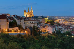 Evening view of Prague Castle with St. Vitus Cathedral Stock Photo