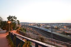 Evening view from Prague`s Vítkov. Evening view from Prague`s Vítkov stock photos