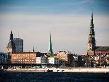 Evening view of quay Daugava rive in Riga. Stock Images