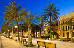 Evening view of Rambla passage at Badalona Royalty Free Stock Image