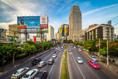 Evening view of Ratchadapisek Road and skyscrapers at Sukhumvit, in Bangkok, Thailand. stock photo