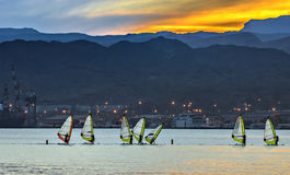 Evening view at the Red sea and Eilat Stock Images
