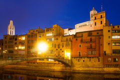 Evening view of river Onyar and  houses in Girona Stock Images