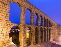 Evening view of  roman aqueduct at Segovia Stock Photo