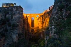 Evening view of Ronda with Puente Nuevo bridge Stock Photos