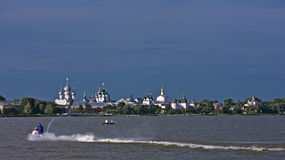 Evening. View of Rostov Kremlin from Lake Nero. Royalty Free Stock Photo
