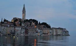 Evening view of Rovinj old town  peninsular  with the Church of St. Euphemia. On the Adriatic Coast  Line Istria Croatia Stock Photos