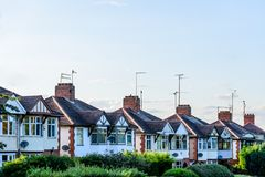 Evening View of Row of Typical English Terraced Houses in Northampton Stock Photography