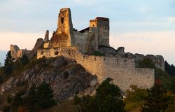 Evening view of ruins Cachticky hrad - Slovakia Royalty Free Stock Photos