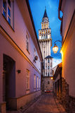 Evening view on the saint Nikolas cathedra in Bielsko-Biala, Poland Royalty Free Stock Photos