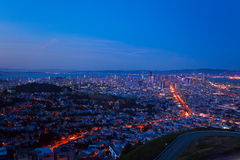 Evening view of San Francisco downtown and houses Stock Photo