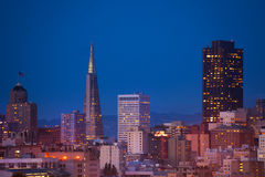Evening view on San Francisco downtown Stock Image