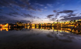Evening view from sea for luxury hotel in night illumination Royalty Free Stock Photos
