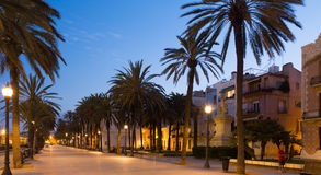 Evening view of seafront  sidewalk at Badalona Royalty Free Stock Images