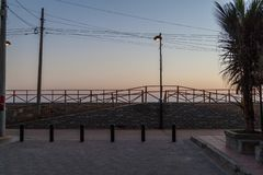 Evening view of a seaside promenade in Montanita village, Ecuad. Or royalty free stock photo