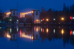 Evening view on second lock of Volga-Don Canal named after Lenin, Volgograd Stock Images