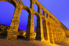 Evening view of Segovia with Roman Aqueduct Royalty Free Stock Photography