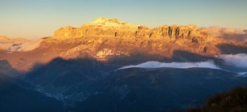 Evening view of Sella gruppe, Alps Dolomites Mountains Royalty Free Stock Image