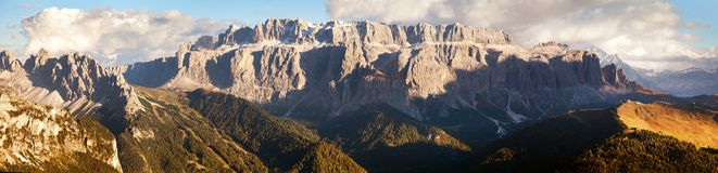 Evening view of Sella gruppe or gruppo di Sella Stock Image