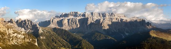 Evening view of Sella gruppe or gruppo di Sella Stock Images