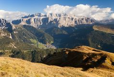 Evening view of Sella gruppe or gruppo di Sella Royalty Free Stock Photography