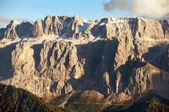 Evening view of Sella gruppe or Gruppo di Sella Stock Photography