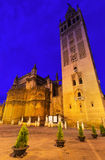 Evening view of  Seville Cathedral with Giralda tower Stock Image
