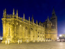 Evening view of  Seville Cathedral Royalty Free Stock Photos