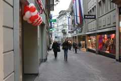 Evening view of the shopping street before Christmas. Lucerne, Switzerland - Novembre 24 2016. Evening view of the shopping street before Christmas Stock Photography