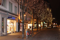 Evening view of the shopping street before Christmas 5. Lucerne, Switzerland - Novembre 24 2016. Evening view of the shopping street before Christmas Royalty Free Stock Photography