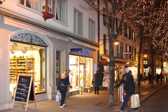 Evening view of the shopping street before Christmas 4. Lucerne, Switzerland - Novembre 24 2016. Evening view of the shopping street before Christmas Stock Image