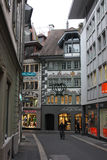 Evening view of the shopping street before Christmas 2. Lucerne, Switzerland - Novembre 24 2016. Evening view of the shopping street before Christmas Royalty Free Stock Photos
