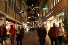 Evening view of the shopping street before Christmas. Lucerne, Switzerland - Novembre 24 2016. Evening view of the shopping street before Christmas Royalty Free Stock Image