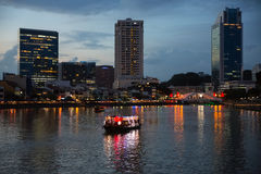 Evening view of the Singapore Rive Royalty Free Stock Photos
