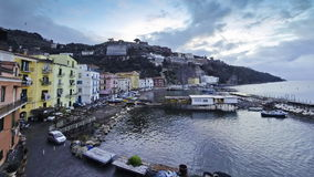 Evening view of small harbour in Sorrento city, Italy stock footage