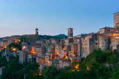Evening view of Sorano, Tuscany, Italy. Evening view of the medieval town Sorano, Tuscany, Italy Royalty Free Stock Photography