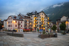 Evening view of square in Chamonix-Mont-Blanc Stock Photo