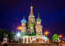 Evening view of St. Basil& x27;s Cathedral royalty free stock photos
